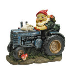 GNOME AND RABBIT ON A TRACTOR