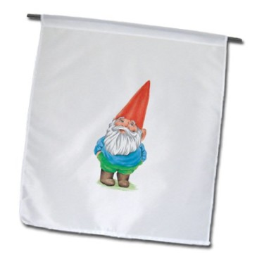 GNOME ON WHITE GARDEN FLAG