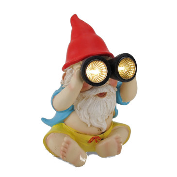 Beach Gnome with Night Light Binoculars