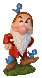 GRUMPY DWARF GNOME WITH BLUEBIRDS