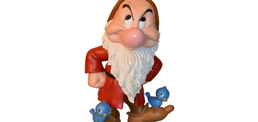 DISNEY'S GRUMPY DWARF GNOME WITH BLUEBIRDS