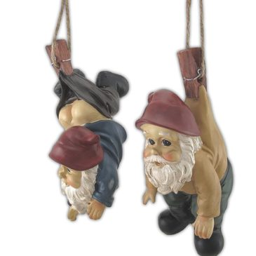 Garden Gnomes Dangling from Clothes Pins